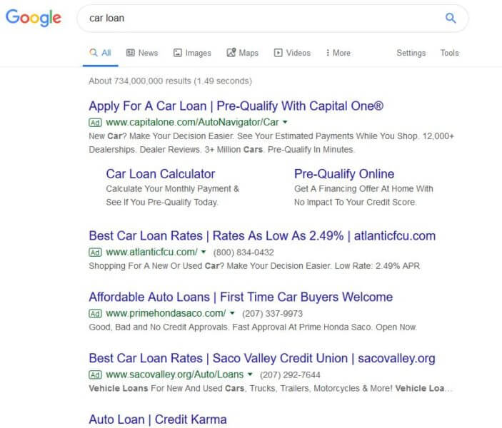 google-car-loan-serp-shorter-ads