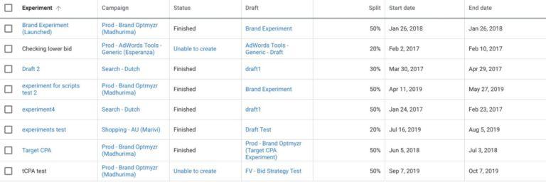 Experiment-dashboard-script