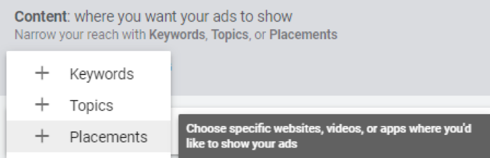 Youtube display ads content options